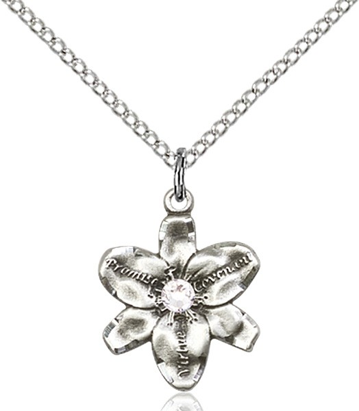 Small Five Petal Chastity Pendant with Birthstone Center - Crystal