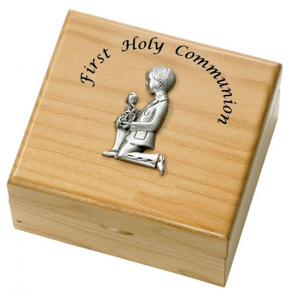 First Communion Boy's Maple Wood Keepsake Box - Light Brown