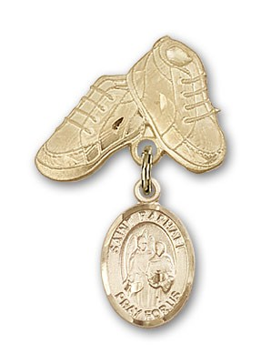 Pin Badge with St. Raphael the Archangel Charm and Baby Boots Pin - 14K Yellow Gold