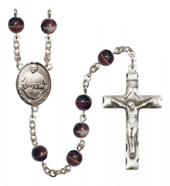 Men's Pope Francis Silver Plated Rosary - Brown