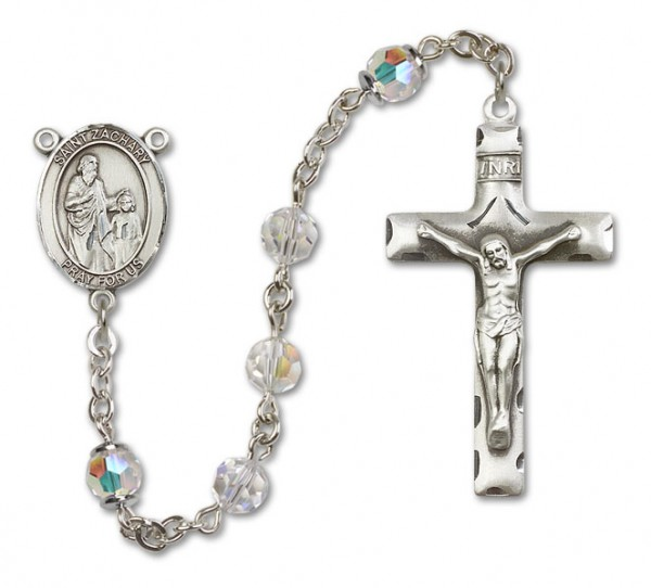 St. Zachary Sterling Silver Heirloom Rosary Squared Crucifix - Crystal