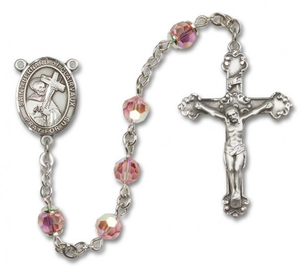 St. Bernard of Clairvaux Sterling Silver Heirloom Rosary Fancy Crucifix - Light Rose