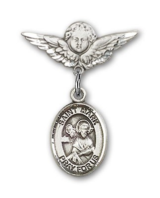 Pin Badge with St. Mark the Evangelist Charm and Angel with Smaller Wings Badge Pin - Silver tone