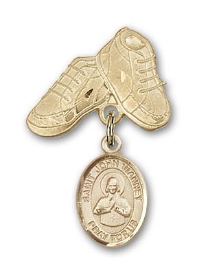 Pin Badge with St. John Vianney Charm and Baby Boots Pin - Gold Tone