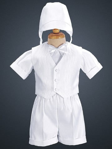 Satin Boy's Baptism Vest & Shorts with Hat - White