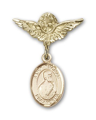 Pin Badge with St. Thomas the Apostle Charm and Angel with Smaller Wings Badge Pin - Gold Tone