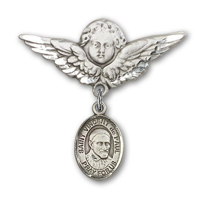 Pin Badge with St. Vincent de Paul Charm and Angel with Larger Wings Badge Pin - Silver tone