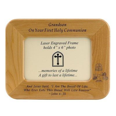 "First Communion Maple Wood ""Grandson"" Photo Frame   - Light Brown"