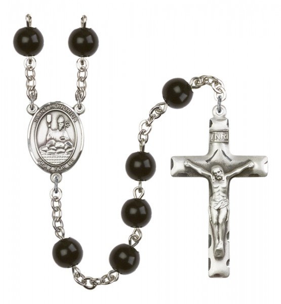 Men's St. Honorius of Amiens Silver Plated Rosary - Black