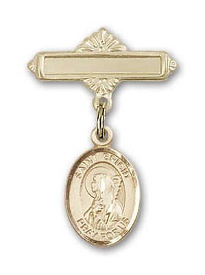Pin Badge with St. Brigid of Ireland Charm and Polished Engravable Badge Pin - Gold Tone