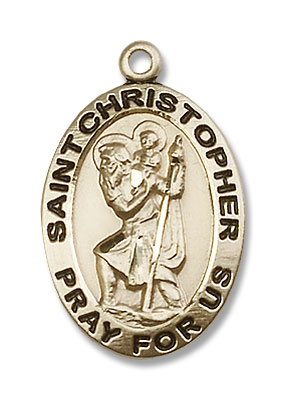 Men's Oval St. Christopher Pray For Us Medal - 14K Solid Gold