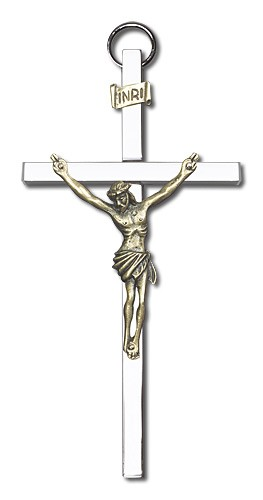 "Classic Wall Crucifix 4"" - Two-Tone Silver"