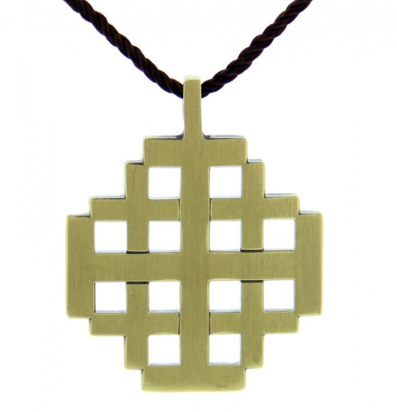 Jerusalem Cross Pendant with Brown Cord - Bronze