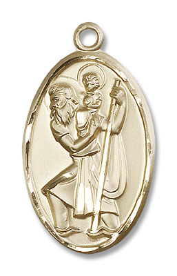 Large Saint Christopher Medal - 14K Yellow Gold