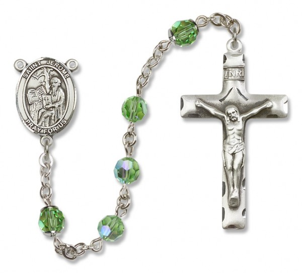 St. Jerome Sterling Silver Heirloom Rosary Squared Crucifix - Peridot