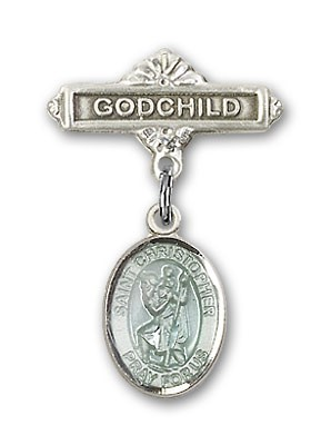 Pin Badge with St. Christopher Charm and Godchild Badge Pin - Silver | Blue