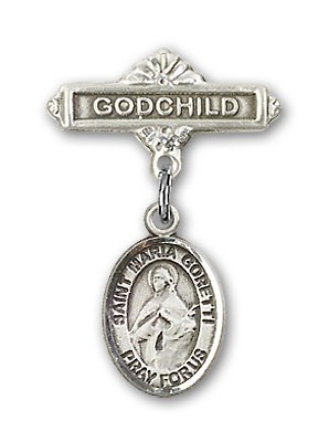 Pin Badge with St. Maria Goretti Charm and Godchild Badge Pin - Silver tone