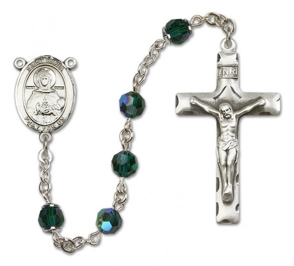 St. Daria  Sterling Silver Heirloom Rosary Squared Crucifix - Emerald Green