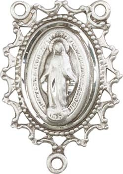 Open-Cut Lace Border Miraculous Medal Rosary Centerpiece - Sterling Silver