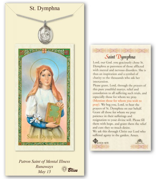 St. Dymphna Medal in Pewter with Prayer Card - Silver tone