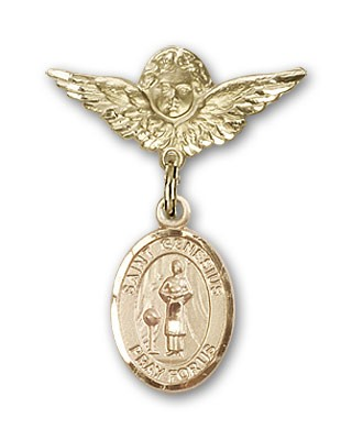 Pin Badge with St. Genesius of Rome Charm and Angel with Smaller Wings Badge Pin - 14K Yellow Gold