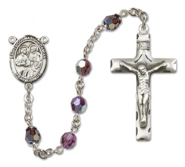 Saints Cosmas and Damian Sterling Silver Heirloom Rosary Squared Crucifix - Amethyst
