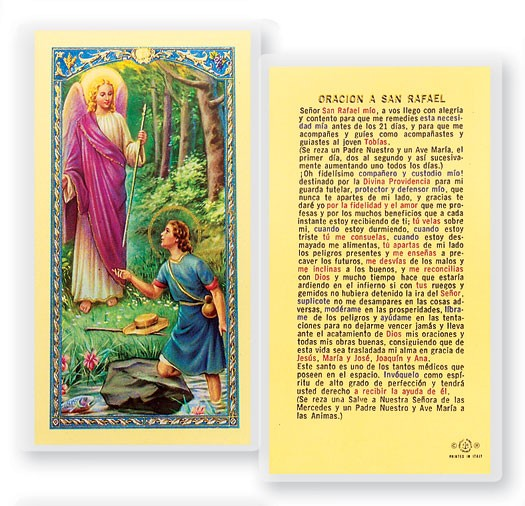 Oracion A San Rafel Laminated Spanish Prayer Cards 25 Pack - Full Color