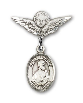 Pin Badge with St. Thomas the Apostle Charm and Angel with Smaller Wings Badge Pin - Silver tone
