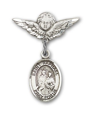 Pin Badge with St. Raphael the Archangel Charm and Angel with Smaller Wings Badge Pin - Silver tone