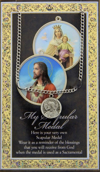 Scapular Medal in Pewter with Bi-Fold Prayer Card - Silver tone