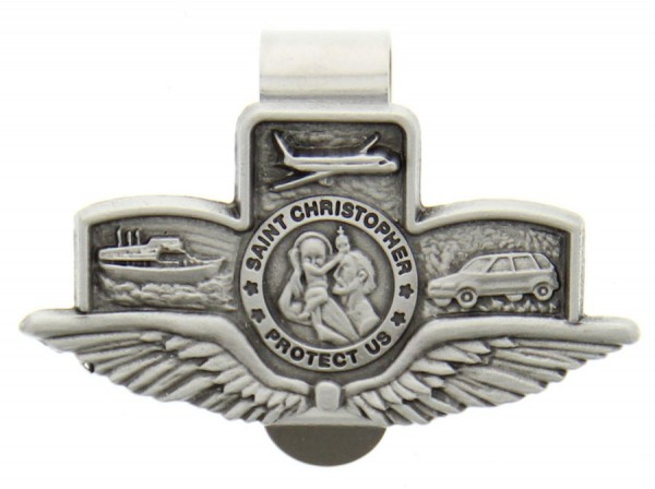 "St. Christopher with Wings Land-Air-Sea Visor Clip, Pewter - 2 5/8""W - Silver"