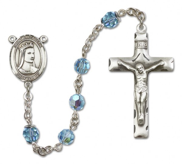 St. Elizabeth of Hungary Sterling Silver Heirloom Rosary Squared Crucifix - Aqua