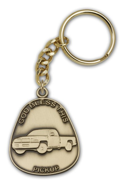God Bless This Pickup Keychain - Antique Gold