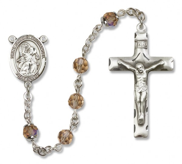 St. Gabriel the Archangel Sterling Silver Heirloom Rosary Squared Crucifix - Topaz