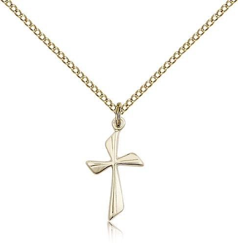 Women's Curved Cross Pendant - 14KT Gold Filled