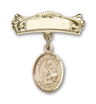 Pin Badge with St. Giles Charm and Arched Polished Engravable Badge Pin - Gold Tone