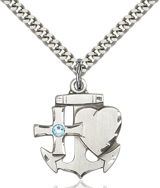 Faith Hope and Charity Pendant with Birthstone Option - Aqua
