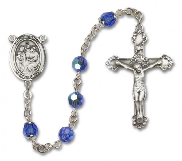 Holy Family Rosary Heirloom Fancy Crucifix - Sapphire