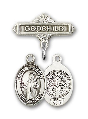 Pin Badge with St. Benedict Charm and Godchild Badge Pin - Silver tone