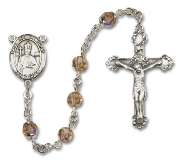 St. Leo the Great RosaryHeirloom Fancy Crucifix - Topaz