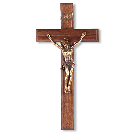 Classic Dark Walnut Wall Crucifix with Gold-tone Corpus - 12 inch - Brown