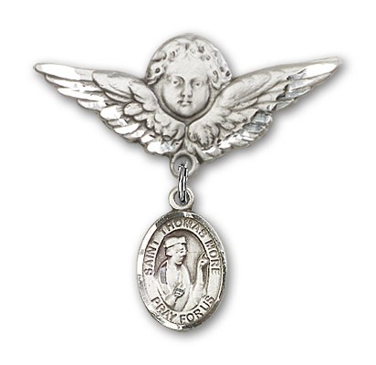 Pin Badge with St. Thomas More Charm and Angel with Larger Wings Badge Pin - Silver tone
