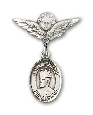 Pin Badge with St. Edward the Confessor Charm and Angel with Smaller Wings Badge Pin - Silver tone