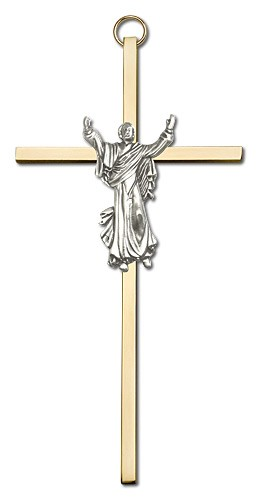 "Risen Christ Wall Crucifix  6"" - Two-Tone Gold"