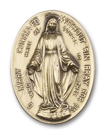 Immaculate  Conception Visor Clip - Antique Gold