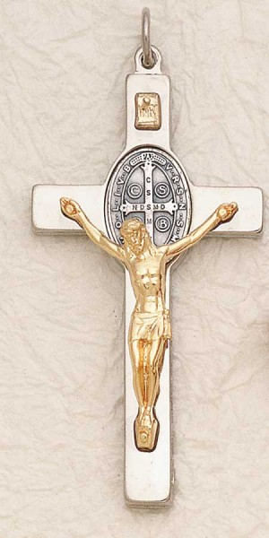 St. Benedict Silver Cross Gold Corpus Crucifix Pendant - Gold | Silver