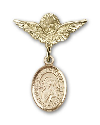 Pin Badge with Our Lady of Perpetual Help Charm and Angel with Smaller Wings Badge Pin - 14K Solid Gold