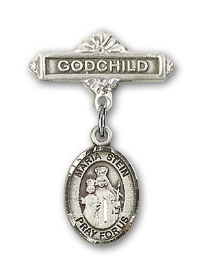 Baby Badge with Maria Stein Charm and Godchild Badge Pin - Silver tone