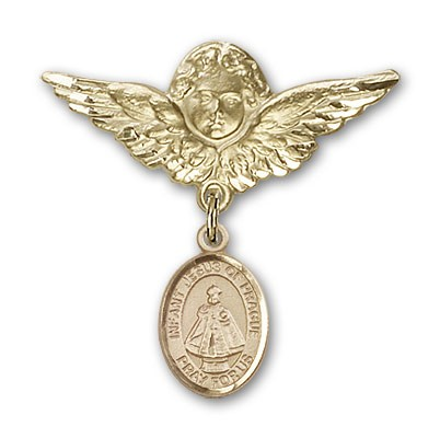 Pin Badge with Infant of Prague Charm and Angel with Larger Wings Badge Pin - 14K Solid Gold