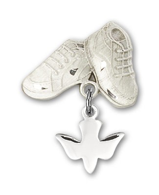 Baby Pin with Holy Spirit Charm and Baby Boots Pin - Silver tone